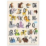 kizibi® ABC Poster DIN A2 für Kinderzimmer, Alphabet Poster für Mädchen und Jungen, Buchstaben...
