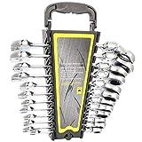 XUSHEN-HU 12-teiliges Ringmaulschlüssel-Set, 8–19 mm, Chrom-Vanadium-Stahl, metrische...