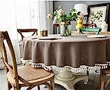 YOUZI Runde Tischdecke, braune Quaste Tischdecke Durchmesser 160cm Küche Esstisch Garten abwischbar...