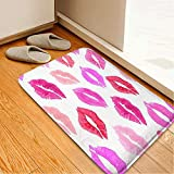 Living Room Carpets Bathroom WC Home Decor Rug Bedroom Floor Mats,Pink Print Kiss Lipmark...