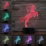 Tierpferd Lampe 3D Illusion 7 Farben Touch-schalter USB Einsatz LED-Licht Tischlampe Kinder...