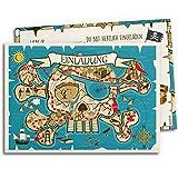 12x Einladungskarten für Kindergeburtstag | Piraten-Schatzkarte | Einladungen für Jungen |...