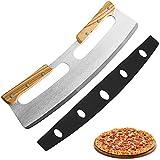 Pizza Wiegemesser, Pizzaschneider aus Edelstahl 35cm mit Holzgriff, Schnelles und Gleichmäßiges...