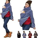 QTDZ Abnehmbare 3 in 1 Babytrage für Damen, Herbst Winter Mama Känguru Jacke mit Babyeinsatz,...