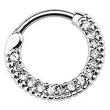 Piersando Piercing Scharnier Clicker Ring Schild Tribal mit Kristall Strass Steinen Vintage Septum...