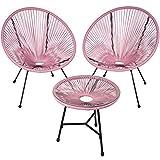 TecTake 800730 2er Set Acapulco Garten Stuhl mit Tisch, Lounge Sessel im Retro Design, Indoor und...