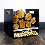 Kompakte 32cm moderne Holz Stahl Log Korb/Carrier für Holzofen Kamin Holz Halter–UK...