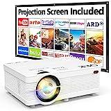 QKK Beamer Unterstützt 1080P Full HD, 5000 Lumen Mini Projektor mit Screen, Native 720P HD Video...