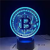 Neue bitcoin 3d lampe sieben farbe touch led visuelle geschenk dekoration schreibtisch led...