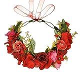 YGSAT Damen Blumenstirnband Blumenkrone Blumenkranz für Muttertag Hochzeit Party Strand –Rot
