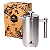 French Press aus Edelstahl von Groenenberg | 0,6 Liter (3 Tassen) Kaffeebereiter doppelwandig...