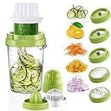 Osaloe Spiralschneider Hand für Gemüsespaghetti, 8 in 1 Spiralschneider Gemüse Reibe Entsafter...