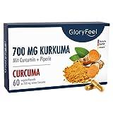 GloryFeel® 700mg Kurkuma mit Curcumin PLUS Piperin - 60 vegane Kapseln Original Kurkumapulver aus...