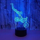 Motorrad Stunt 3D Nachtlicht LED 7 Farbe variable berührbare Fernbedienung Schalter Schlafzimmer...