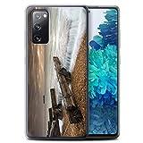 Stuff4 Gel TPU Hülle/Hülle für Samsung Galaxy S20 FE/Flut Barrikade Muster/Englische Strand...