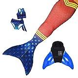 Sun Tails Set Premium Meerjungfrauenflosse Super Sirene Wonder Woman Mermaid Tail Monoflosse...