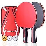 Sportout Tischtennisschläger, Tischtennis Set, 2 Tischtennis-Schläger und 3...