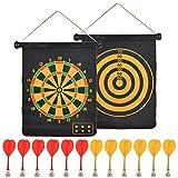 FOROREH Magnetische Dartscheibe für Kinder und Erwachsene mit 12 Magnetpfeilen, Reversibles Rollup...