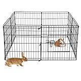 ECD Germany Freilaufgehege aus 8 Gittern für Kleintiere, 124 x 61 cm, Freigehege aus Metall,...