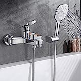 Wasserfall Badewannenarmatur mit Handbrause, WOOHSE Badewanne Wasserhahn mit 3 Strahlarten...