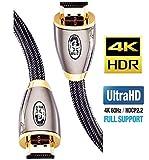 4K HDMI Kabel 0,75M HDMI 2.0b Kabel 4K@60Hz HighSpeed 18Gbps Nylon Geflecht Vergoldete Anschlsse mit...