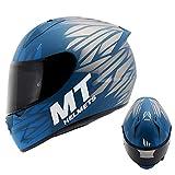 YHDQ Matt Blau Herren Damen Cool Motorrad Helme Frühling Sommer Modular Doppel Sonnenblende Flip...