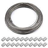 30m x 1.5mm Drahtseil Stahlseil aus Edelstahl, Draht Seil Drahtspule Wäscheständer Zubehör...