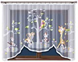 Promag Vorhang Gardine mit Kräuselband Kinderzimmer Kindergardine Junge Weiß 300 cm Extra Breit...