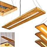 LED Pendelleuchte Adak, dimmbare Hängeleuchte aus Holz/Metall in Braun/Dunkelgrau, moderne...