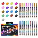 18 Farben Metallic Marker Pens, 2 mm Malstifte Fine Tip Coloring Pens Set für Scrapbooking, DIY...