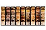 codiarts. 9 Stück breite Ordner-Etiketten - Alte Bücher Lederbände Vintage - selbstklebend...