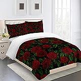 Bettwäsche 135x200 Rotgrüne Blume Bettdecke Mikrofaser Atmungsaktiv Bettwäsche-Sets Hypoallergen...