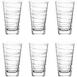 Leonardo Vario Struttura Becher groß, 6-er Set, 280 ml, Trinkglas mit eingepresstem Dekor,...
