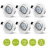 6er LED Einbaustrahler Deckenspot GU10 Weiß Schwenkbare Einbauleuchten Einbau Set 230V inkl. 5W...