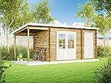 Alpholz Pultdach Gartenhaus Martina-28 mit Anbau & Schleppdach aus Massiv-Holz | Gerätehaus mit 28...