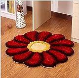 WCZ Teppich Europäischen Sonne Blume Rot runde Schlafzimmer Wohnzimmer Nacht Computer Drehstuhl...