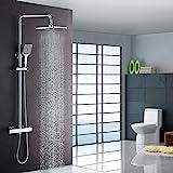 Luxus Dusche mit Thermostat und Regendusche 22x22 cm, hhenverstellbar, Duschsystem, Duschset...