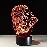 3D Optische Illusions-Lampen Baseballhandschuh 7 Farben Touch-Schalter Led Nachtlicht Kinder...