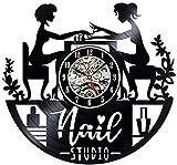 Vinyl Wanduhr Nagel Salon Vinyl Schallplatte Wanduhr Modernes Design Nail Art Maniküre Studio Vinyl...