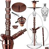 DILAW® Rubin Shisha Edelstahl Copper Black V2A 75cm Hookah Medium | Wasserpfeife Kaminkopf...