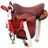 KDKDA Jugend Leder Hand geschnitzt Western Pleasure Trail anzeigen Rodeo Kids Pony...