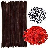150 Stück Braune Pfeifenreiniger Chenille Stiele, 150 Stück Rote Pom Poms in Verschiedenen...