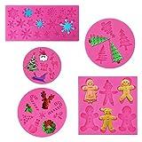 Rainmae 5 x Silikonformen für Weihnachtskuchen, Fondant, Party, Cupcake-Topper,...