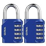 ORIA 2 Pack Kombinations Zahlenschloss, 4-StelligesKombinationsschloss Vorhängeschloss, Gym Lock...