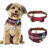 Tacobear 2 Stcke Hundehalsband Leder Katze Halsband Verstellbare Hundehalsband mit Fliege Halstuch...