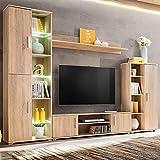 Wohnwand Set Wohnzimmerschrank Schrankwand mit LED-Leuchten TV Stand Seitenschränk Regal...