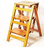 YUEDAI Trittschemel Stufenleiter aus Holz 3 Stufen Folding 2 mit Leiter Hocker...