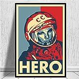linbindeshoop Space Heroes Yuri Gagarin Poster und Drucke Leinwand Wandkunst Bilder Für Wohnzimmer...
