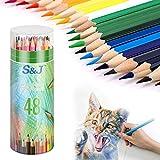 Farbstifte Set mit 48 Farben in einem Fass Zeichnen Farbstifte Buntstifte Set Malstifte für Malbuch...