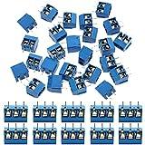 IZOKEE 60 Stcke 5mm 2 Pin / 3 Pin PCB Mount Screw Terminal Block Schraubklemme Steckverbinder Blau...